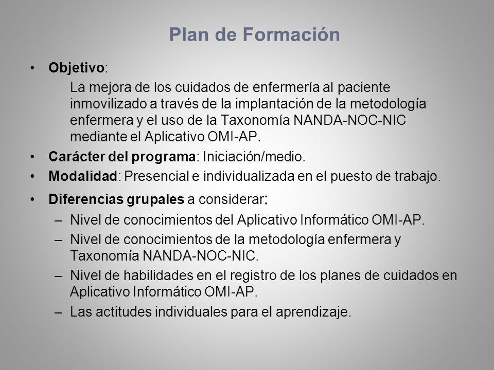 Plan de Formación Objetivo: La mejora de los cuidados de enfermería al paciente inmovilizado a través de la implantación de la metodología enfermera y
