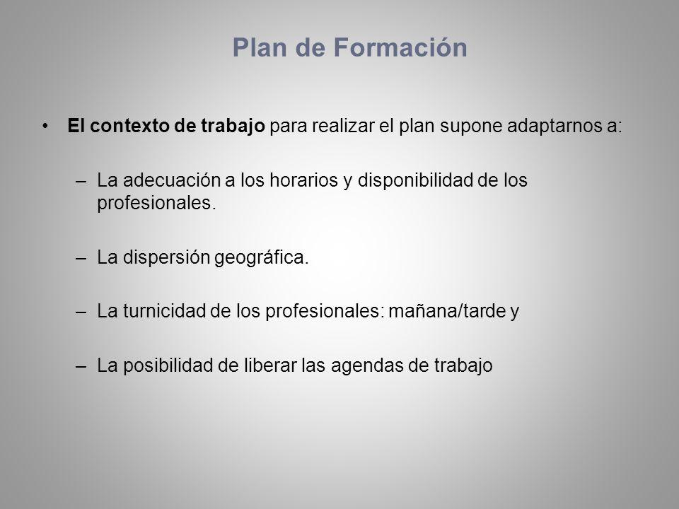 El contexto de trabajo para realizar el plan supone adaptarnos a: –La adecuación a los horarios y disponibilidad de los profesionales. –La dispersión