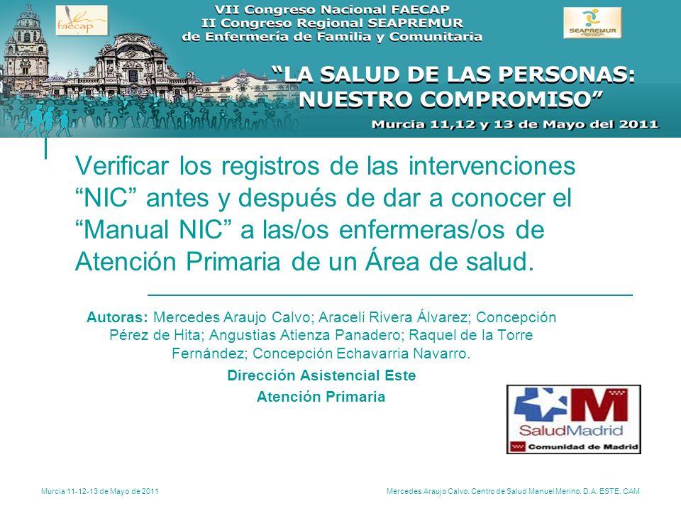 Murcia 11-12-13 de Mayo de 2011 Mercedes Araujo Calvo. Centro de Salud Manuel Merino. D.A. ESTE. CAM Verificar los registros de las intervenciones NIC