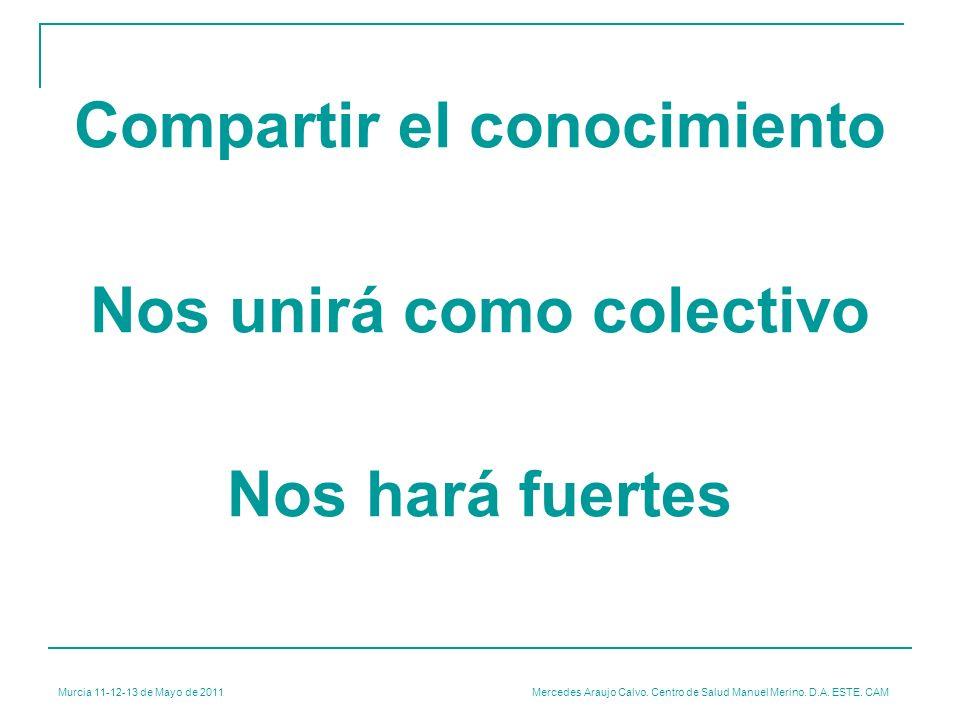 Murcia 11-12-13 de Mayo de 2011 Mercedes Araujo Calvo. Centro de Salud Manuel Merino. D.A. ESTE. CAM Compartir el conocimiento Nos unirá como colectiv