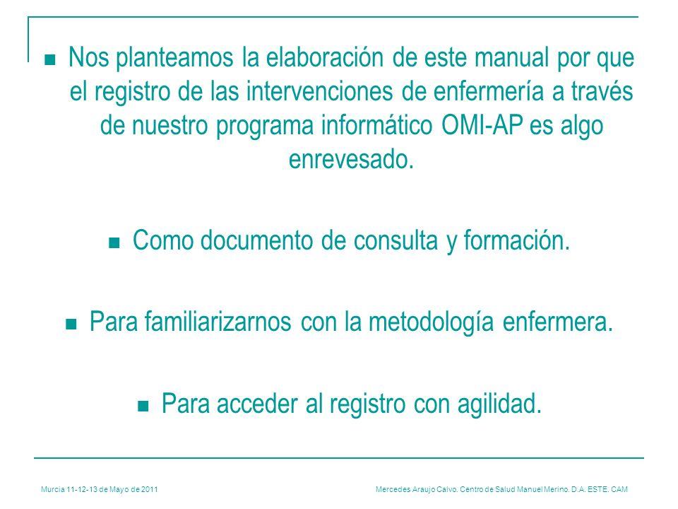 Murcia 11-12-13 de Mayo de 2011 Mercedes Araujo Calvo. Centro de Salud Manuel Merino. D.A. ESTE. CAM Nos planteamos la elaboración de este manual por