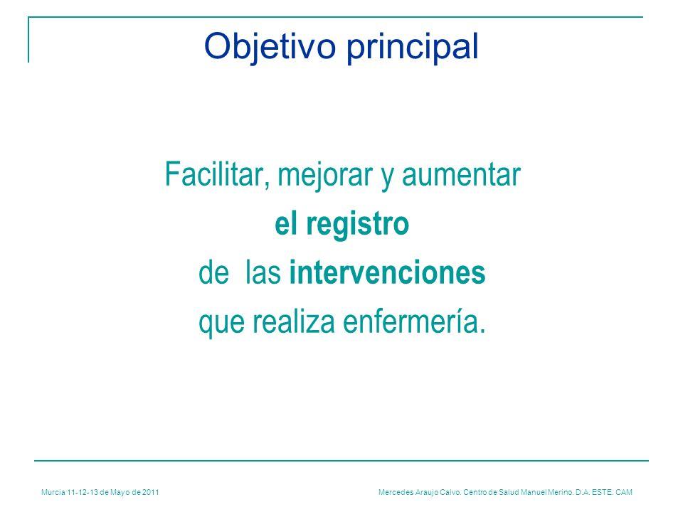 Murcia 11-12-13 de Mayo de 2011 Mercedes Araujo Calvo. Centro de Salud Manuel Merino. D.A. ESTE. CAM Objetivo principal Facilitar, mejorar y aumentar