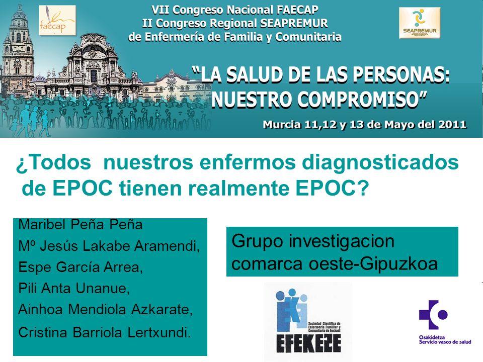 ¿Todos nuestros enfermos diagnosticados de EPOC tienen realmente EPOC? Maribel Peña Peña Mº Jesús Lakabe Aramendi, Espe García Arrea, Pili Anta Unanue