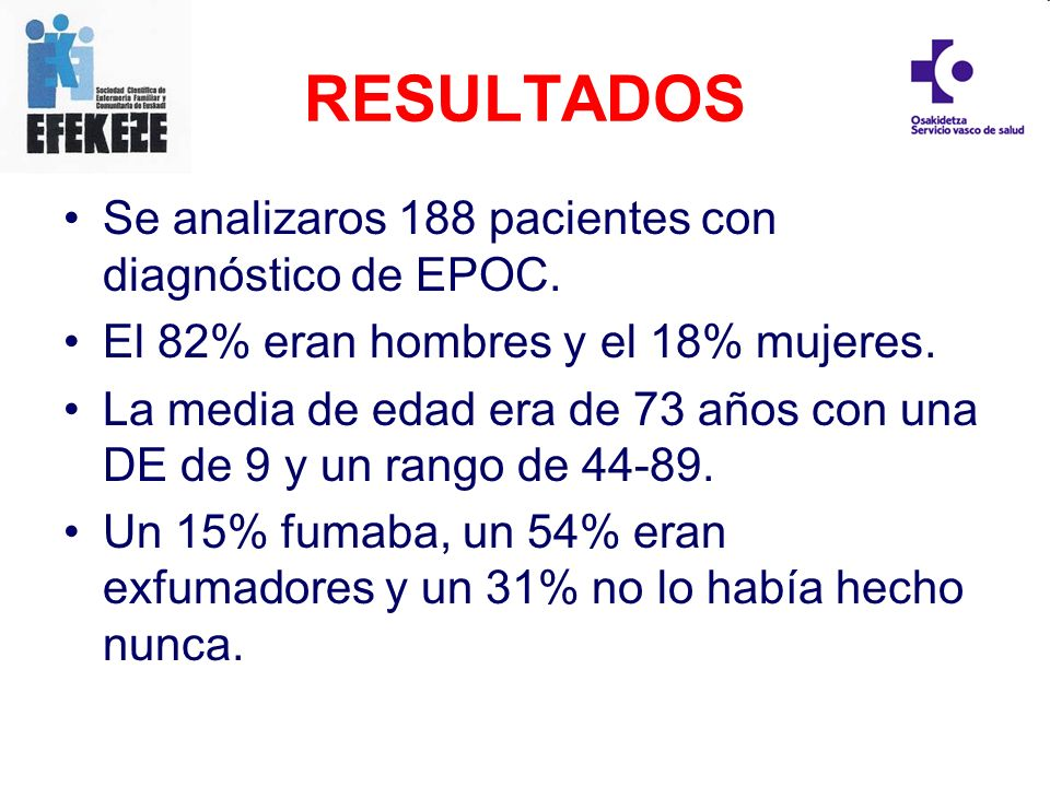 RESULTADOS Se analizaros 188 pacientes con diagnóstico de EPOC. El 82% eran hombres y el 18% mujeres. La media de edad era de 73 años con una DE de 9