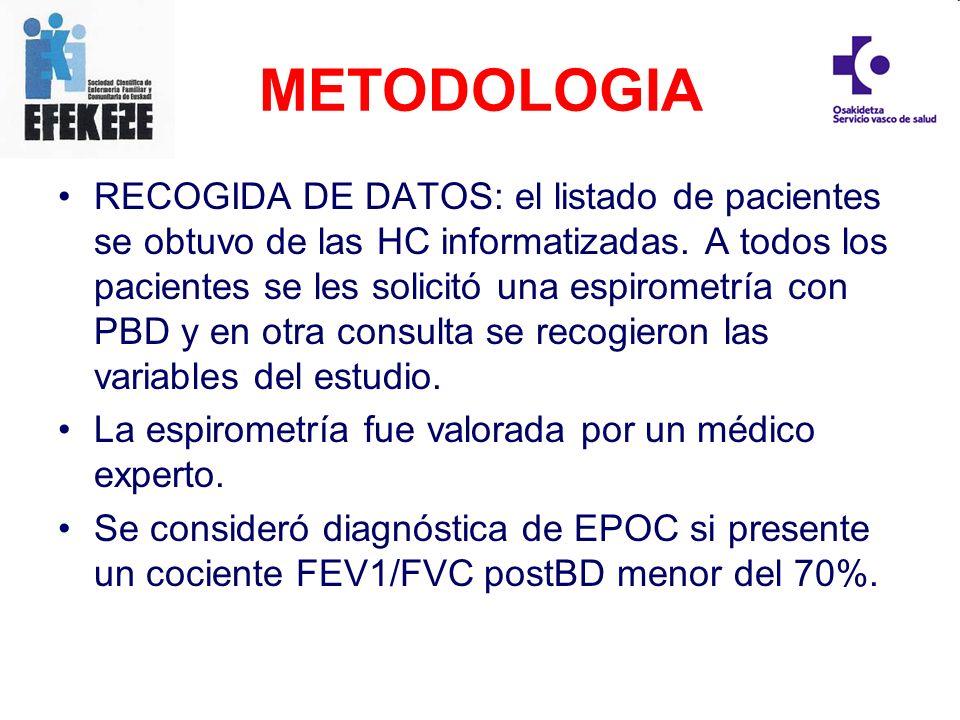 RECOGIDA DE DATOS: el listado de pacientes se obtuvo de las HC informatizadas. A todos los pacientes se les solicitó una espirometría con PBD y en otr