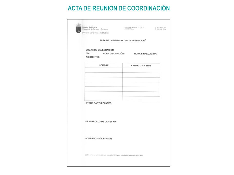 ACTA DE REUNIÓN DE COORDINACIÓN