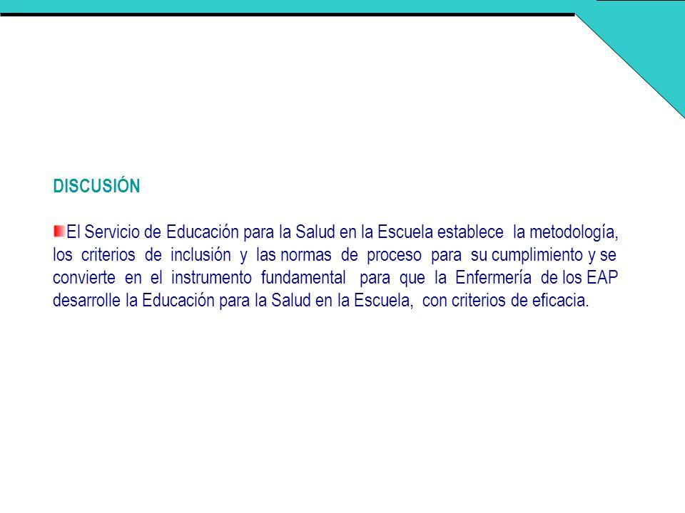 DISCUSIÓN El Servicio de Educación para la Salud en la Escuela establece la metodología, los criterios de inclusión y las normas de proceso para su cu