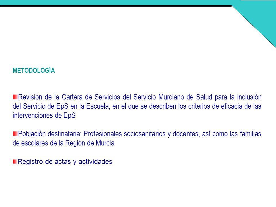 METODOLOGÍA Revisión de la Cartera de Servicios del Servicio Murciano de Salud para la inclusión del Servicio de EpS en la Escuela, en el que se descr
