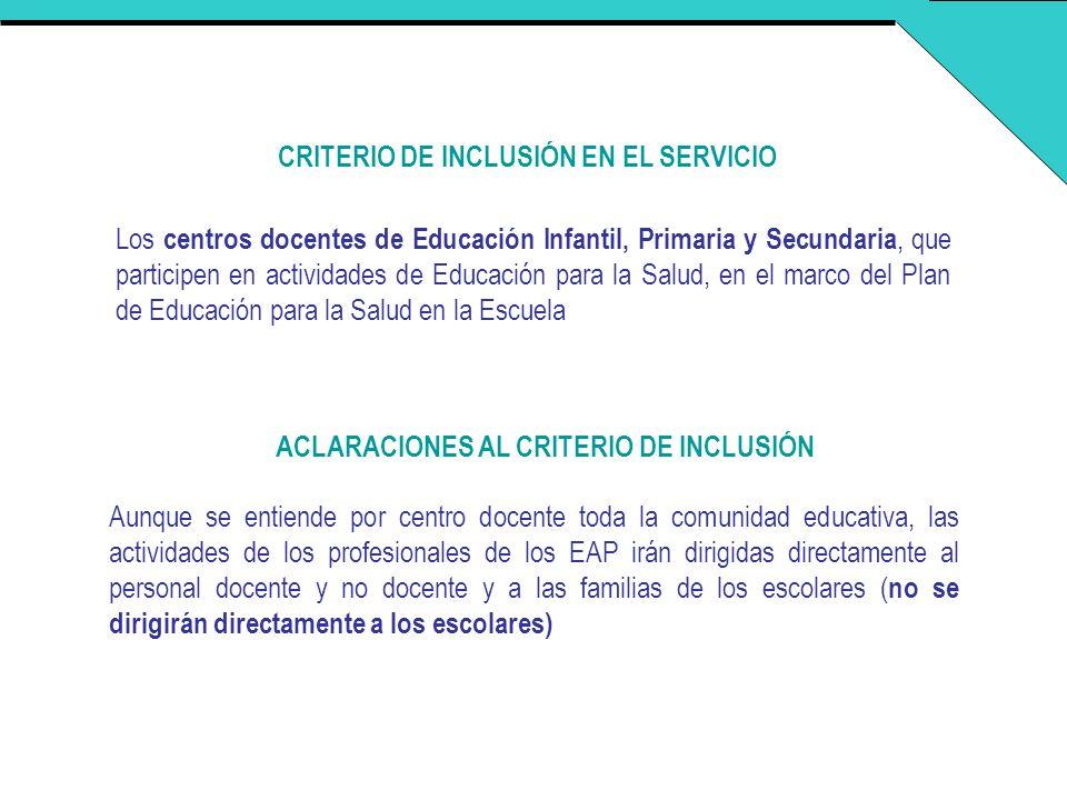 CRITERIO DE INCLUSIÓN EN EL SERVICIO Los centros docentes de Educación Infantil, Primaria y Secundaria, que participen en actividades de Educación par