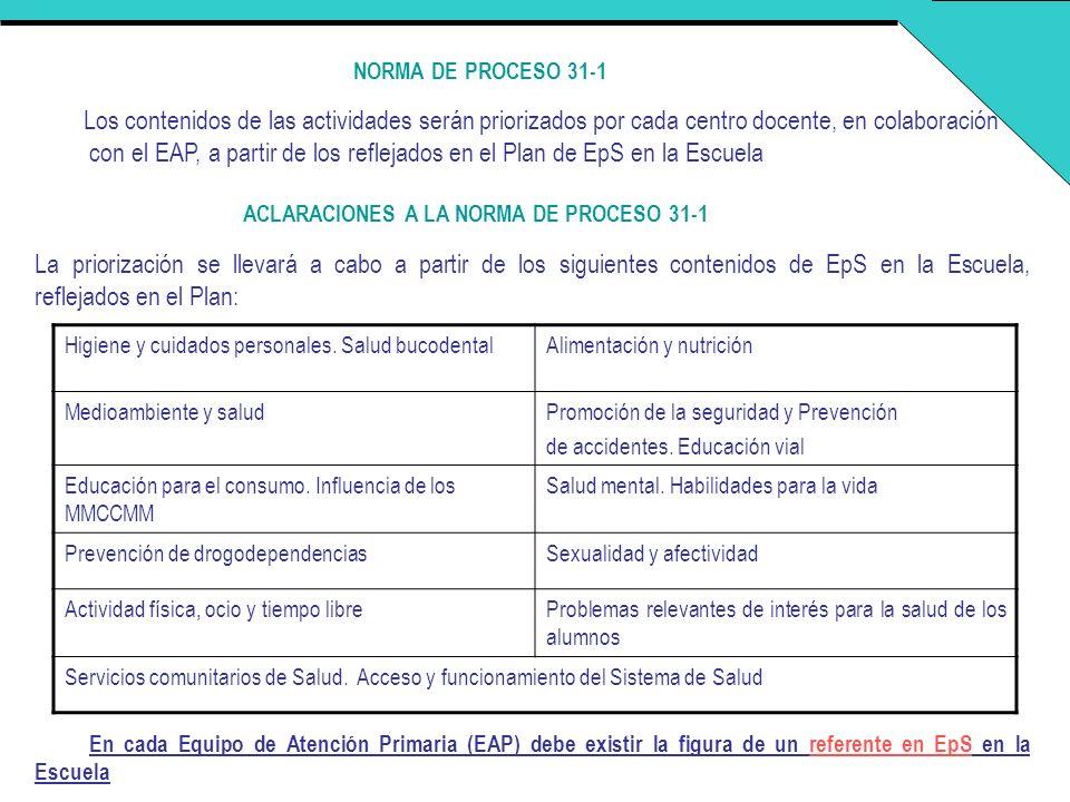 NORMA DE PROCESO 31-1 Los contenidos de las actividades serán priorizados por cada centro docente, en colaboración con el EAP, a partir de los refleja