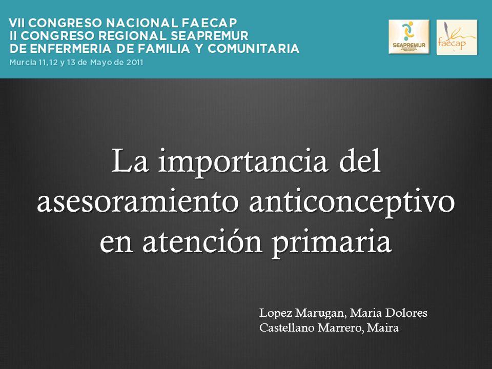 La importancia del asesoramiento anticonceptivo en atención primaria Lopez Marugan, Maria Dolores Castellano Marrero, Maira