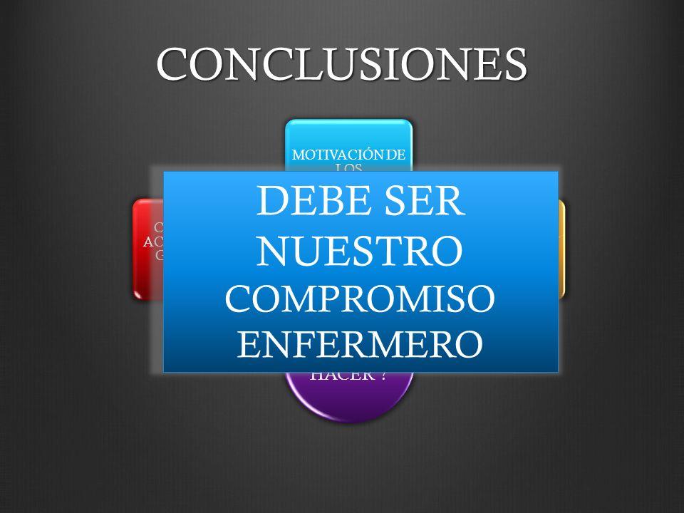 CONCLUSIONES ¿QUÉ DEBEMOS HACER ? CAPTACIÓN ACTIVA DE LOS GRUPOS DE RIESGO MOTIVACIÓN DE LOS PROFESIONALES BUENA COMUNICACIÓN PACIENTES VS PROFESIONAL