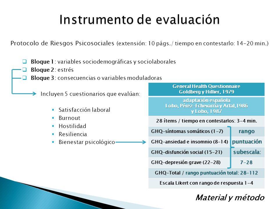 Protocolo de Riesgos Psicosociales (extensión: 10 págs./ tiempo en contestarlo: 14-20 min.) Bloque 1: variables sociodemográficas y sociolaborales Blo