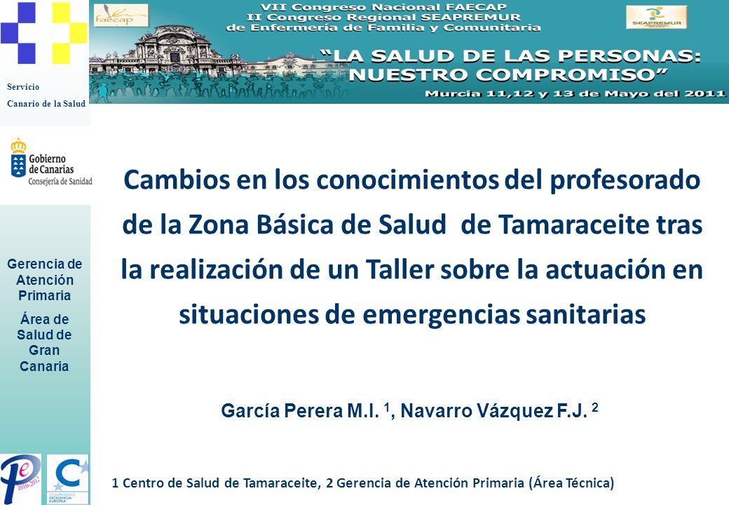 Servicio Canario de la Salud Gerencia de Atención Primaria Área de Salud de Gran Canaria García Perera M.I. 1, Navarro Vázquez F.J. 2 Cambios en los c