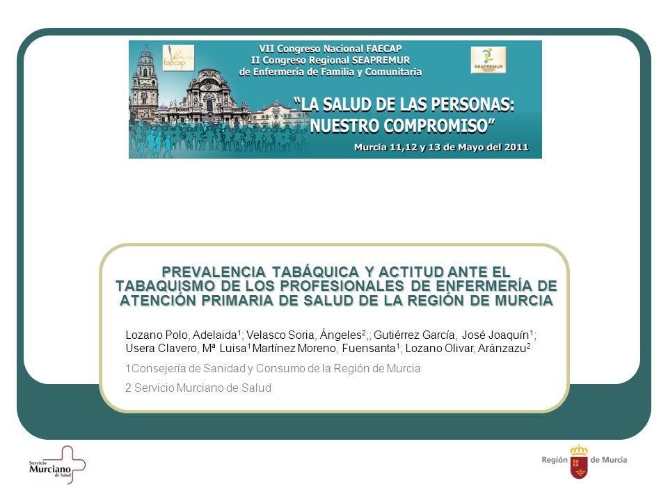 PREVALENCIA TABÁQUICA Y ACTITUD ANTE EL TABAQUISMO DE LOS PROFESIONALES DE ENFERMERÍA DE ATENCIÓN PRIMARIA DE SALUD DE LA REGIÓN DE MURCIA Lozano Polo