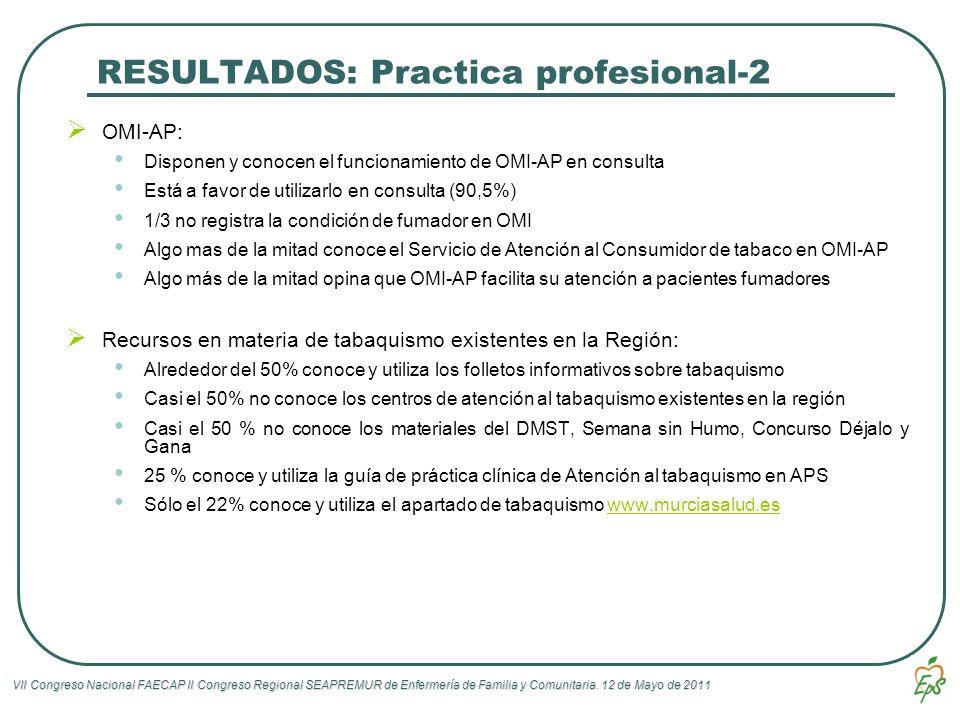 VII Congreso Nacional FAECAP II Congreso Regional SEAPREMUR de Enfermería de Familia y Comunitaria. 12 de Mayo de 2011 RESULTADOS: Practica profesiona