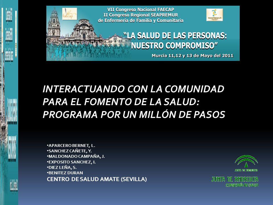 INTERACTUANDO CON LA COMUNIDAD PARA EL FOMENTO DE LA SALUD: PROGRAMA POR UN MILLÓN DE PASOS APARCERO BERNET, L.