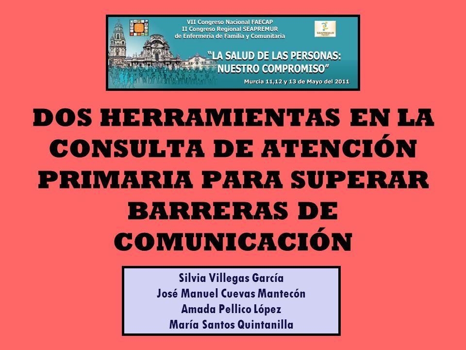 DOS HERRAMIENTAS EN LA CONSULTA DE ATENCIÓN PRIMARIA PARA SUPERAR BARRERAS DE COMUNICACIÓN Silvia Villegas García José Manuel Cuevas Mantecón Amada Pe
