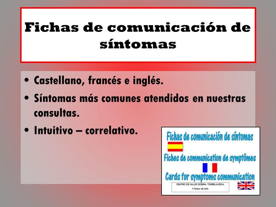 Fichas de comunicación de síntomas Castellano, francés e inglés. Síntomas más comunes atendidos en nuestras consultas. Intuitivo – correlativo.