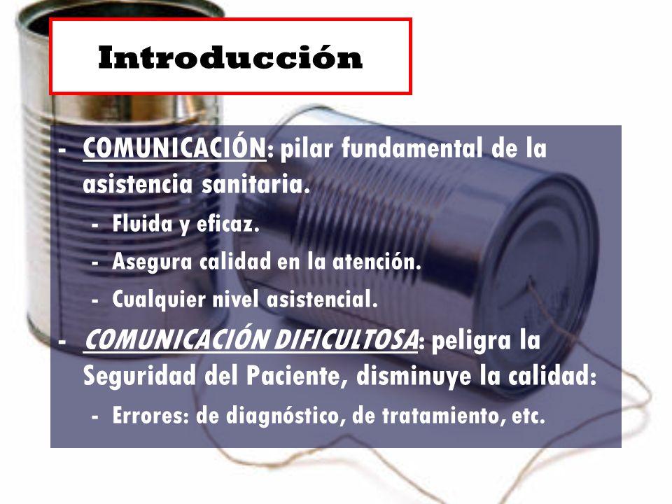 -COMUNICACIÓN: pilar fundamental de la asistencia sanitaria. -Fluida y eficaz. -Asegura calidad en la atención. -Cualquier nivel asistencial. -COMUNIC