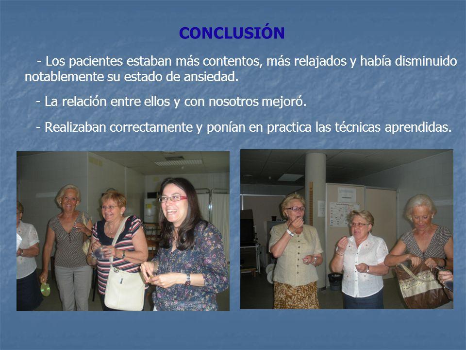 CONCLUSIÓN - Los pacientes estaban más contentos, más relajados y había disminuido notablemente su estado de ansiedad. - La relación entre ellos y con