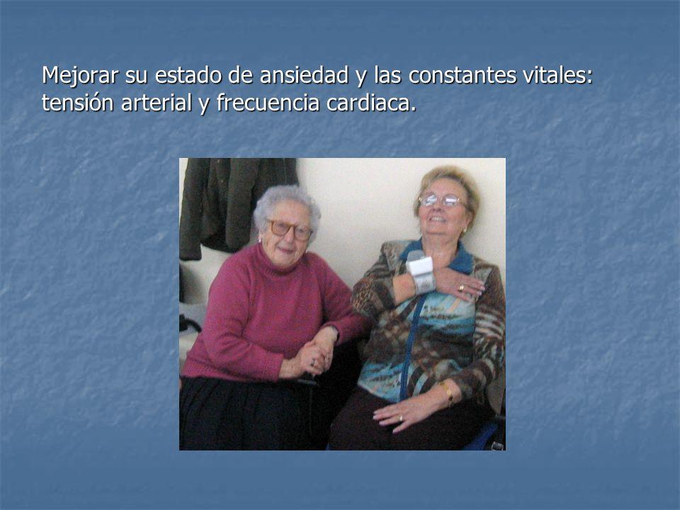 Mejorar su estado de ansiedad y las constantes vitales: tensión arterial y frecuencia cardiaca.