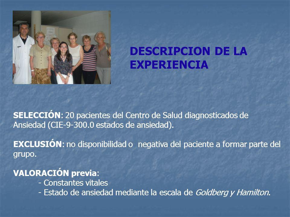 DESCRIPCION DE LA EXPERIENCIA SELECCIÓN: 20 pacientes del Centro de Salud diagnosticados de Ansiedad (CIE-9-300.0 estados de ansiedad). EXCLUSIÓN: no