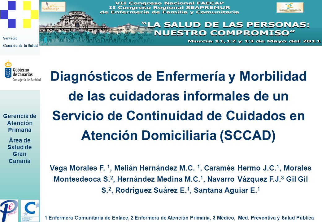 Servicio Canario de la Salud Gerencia de Atención Primaria Área de Salud de Gran Canaria Diagnósticos de Enfermería y Morbilidad de las cuidadoras inf