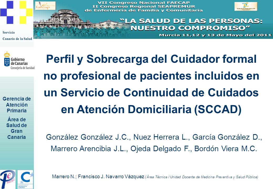 Servicio Canario de la Salud Gerencia de Atención Primaria Área de Salud de Gran Canaria Introducción, Objetivos y Método Objetivo Determinar el perfil y la sobrecarga del cuidador de cuidadoras formales no profesionales (CFNP) de pacientes incluidos en un SCCAD.