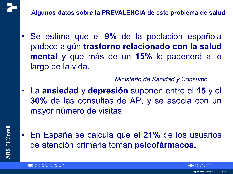 ABS El Morell Escala de ansiedad y depresión de Goldberg INICIOFINAL ANSIEDAD7,24 DEPRESIÓN5,322,6 Subescala de ansiedad: 4 o más respuestas afirmativas Subescala de depresión: 2 o más respuestas afirmativas