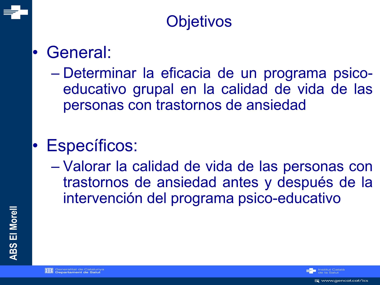 ABS El Morell METODOLOGÍA I Tipo de estudio: Estudio descriptivo tipo antes-después de una intervención.
