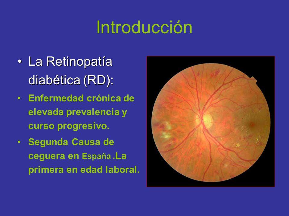 Introducción La Retinopatía diabética (RD):La Retinopatía diabética (RD): Enfermedad crónica de elevada prevalencia y curso progresivo. Segunda Causa