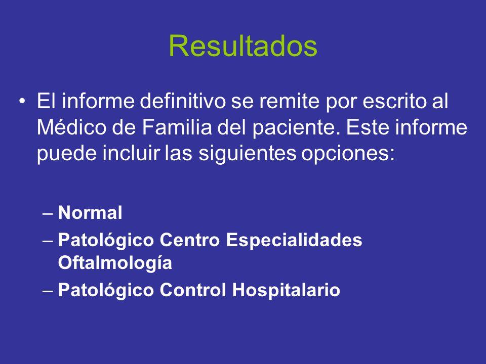 El informe definitivo se remite por escrito al Médico de Familia del paciente. Este informe puede incluir las siguientes opciones: –Normal –Patológico