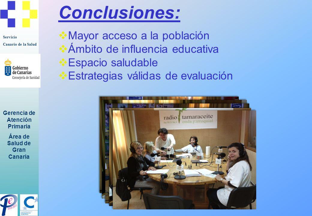 Servicio Canario de la Salud Gerencia de Atención Primaria Área de Salud de Gran Canaria Implicaciones: Concienciación del bienestar Corresponsabilidad en la salud Disminución demanda Prevención patologías crónicas