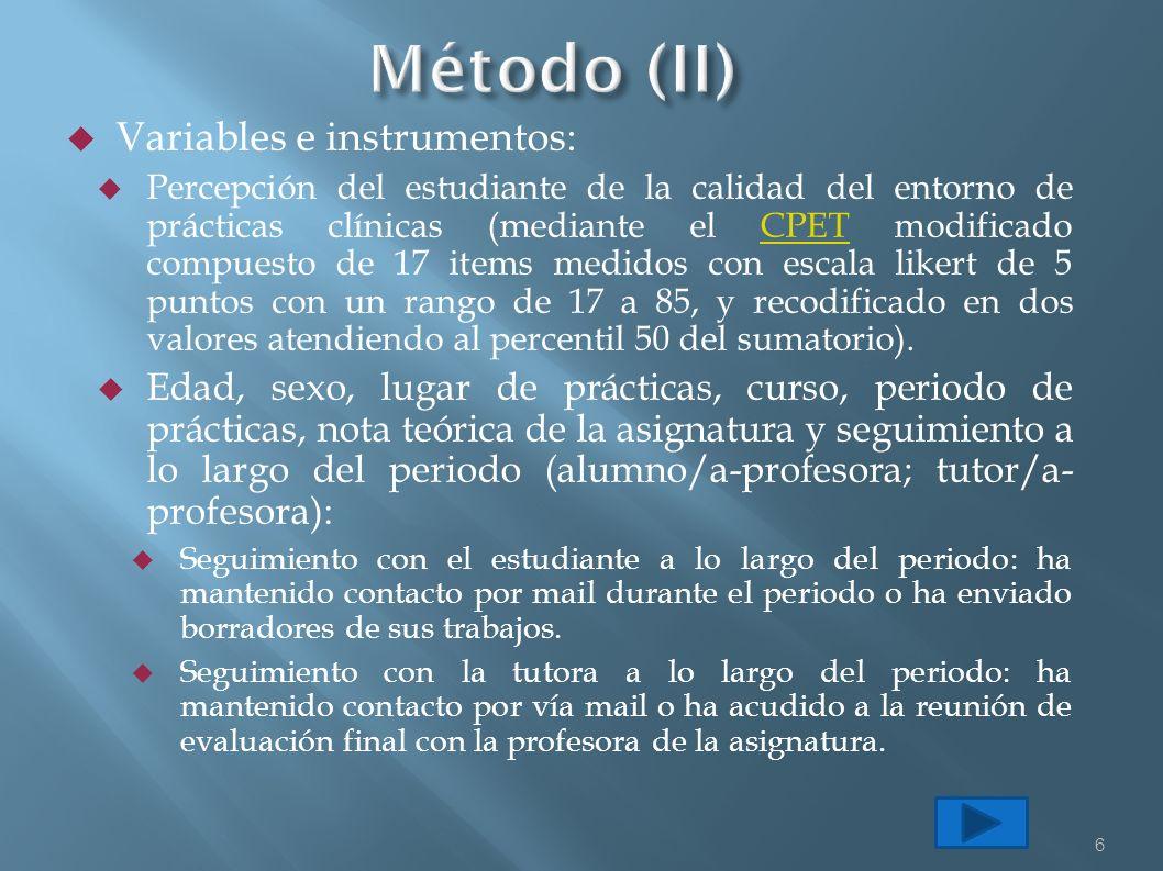 Variables e instrumentos: Percepción del estudiante de la calidad del entorno de prácticas clínicas (mediante el CPET modificado compuesto de 17 items