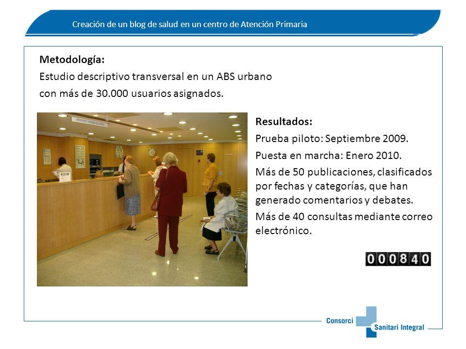 Metodología: Estudio descriptivo transversal en un ABS urbano con más de 30.000 usuarios asignados.