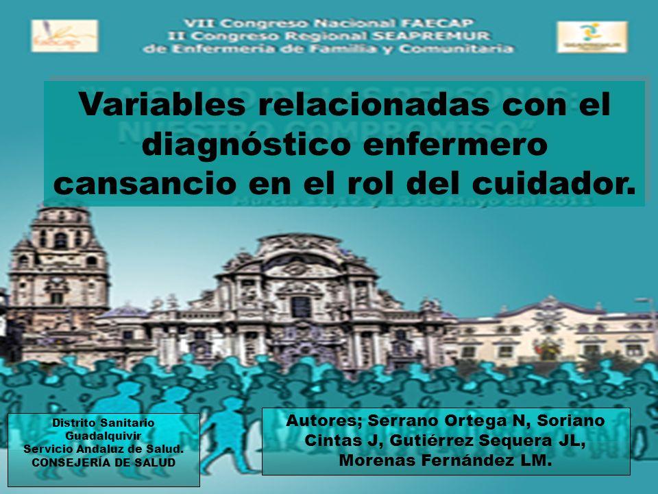 Distrito Sanitario Guadalquivir Servicio Andaluz de Salud. CONSEJERÍA DE SALUD Autores; Serrano Ortega N, Soriano Cintas J, Gutiérrez Sequera JL, More