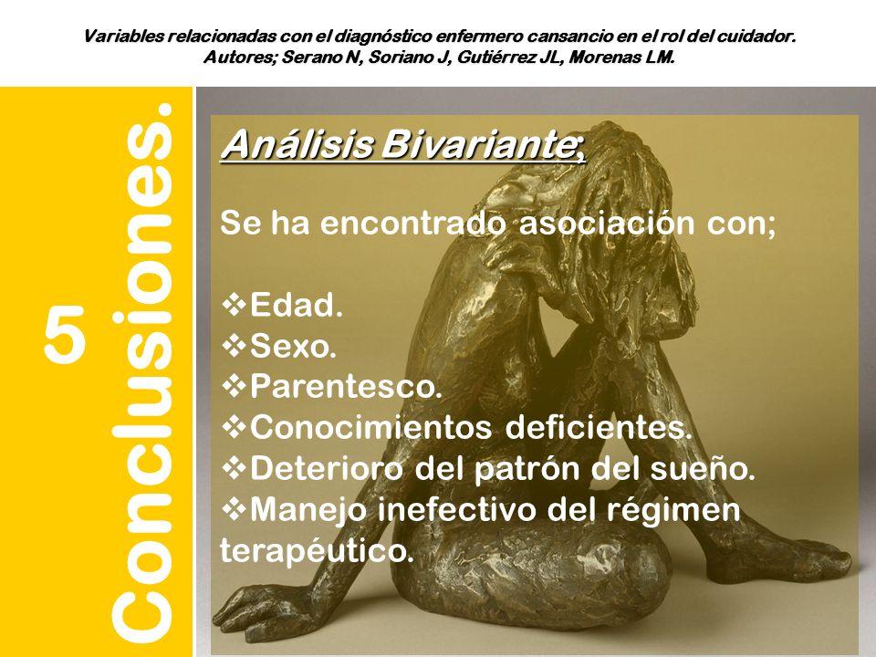 Variables relacionadas con el diagnóstico enfermero cansancio en el rol del cuidador. Autores; Serano N, Soriano J, Gutiérrez JL, Morenas LM. Conclusi