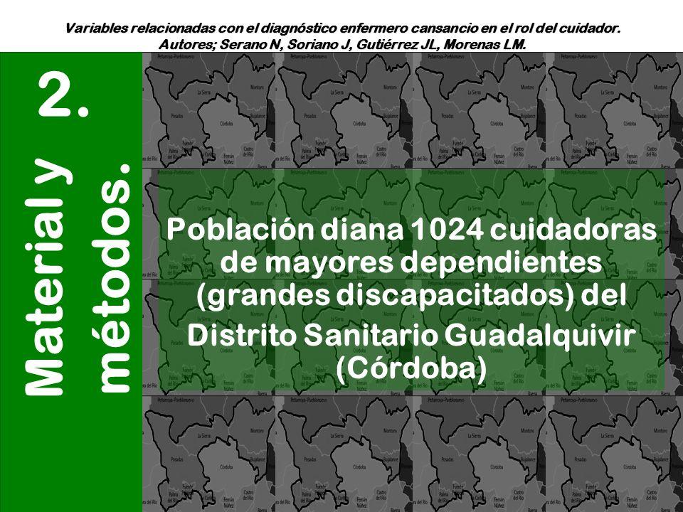Variables relacionadas con el diagnóstico enfermero cansancio en el rol del cuidador. Autores; Serano N, Soriano J, Gutiérrez JL, Morenas LM. Material