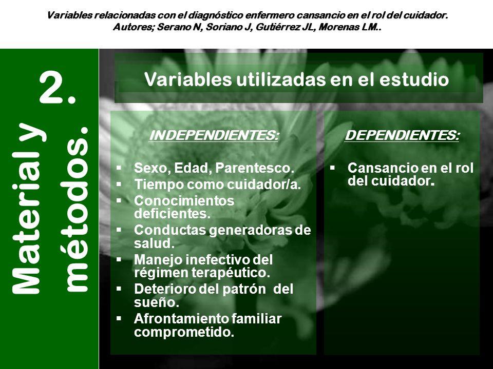 Variables relacionadas con el diagnóstico enfermero cansancio en el rol del cuidador. Autores; Serano N, Soriano J, Gutiérrez JL, Morenas LM.. Materia