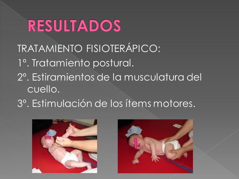 TRATAMIENTO FISIOTERÁPICO: 1º. Tratamiento postural. 2º. Estiramientos de la musculatura del cuello. 3º. Estimulación de los ítems motores.