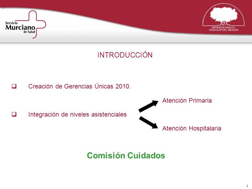 2 INTRODUCCIÓN Creación de Gerencias Únicas 2010. Atención Primaria Integración de niveles asistenciales Atención Hospitalaria Comisión Cuidados