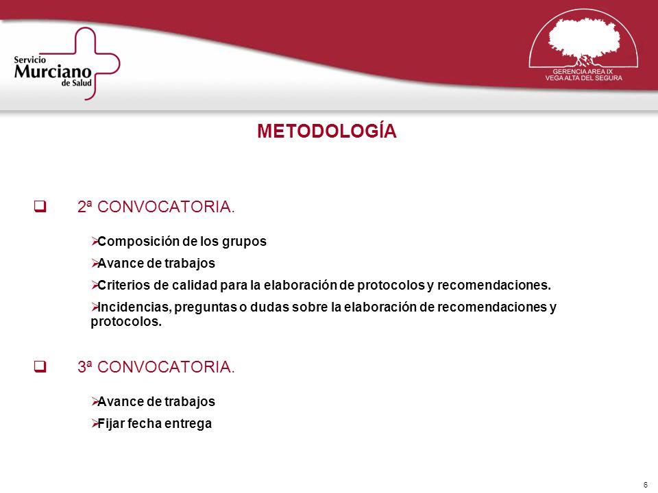 6 METODOLOGÍA 2ª CONVOCATORIA. Composición de los grupos Avance de trabajos Criterios de calidad para la elaboración de protocolos y recomendaciones.
