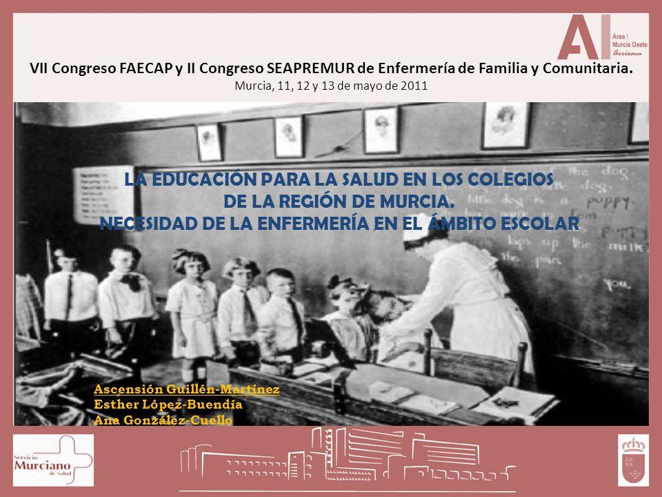 VII Congreso FAECAP y II Congreso SEAPREMUR de Enfermería de Familia y Comunitaria. Murcia, 11, 12 y 13 de mayo de 2011 LA EDUCACIÓN PARA LA SALUD EN
