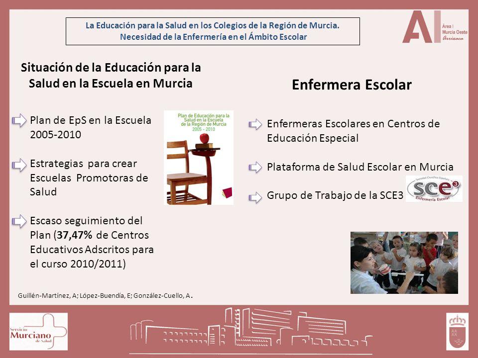 La Educación para la Salud en los Colegios de la Región de Murcia. Necesidad de la Enfermería en el Ámbito Escolar Situación de la Educación para la S
