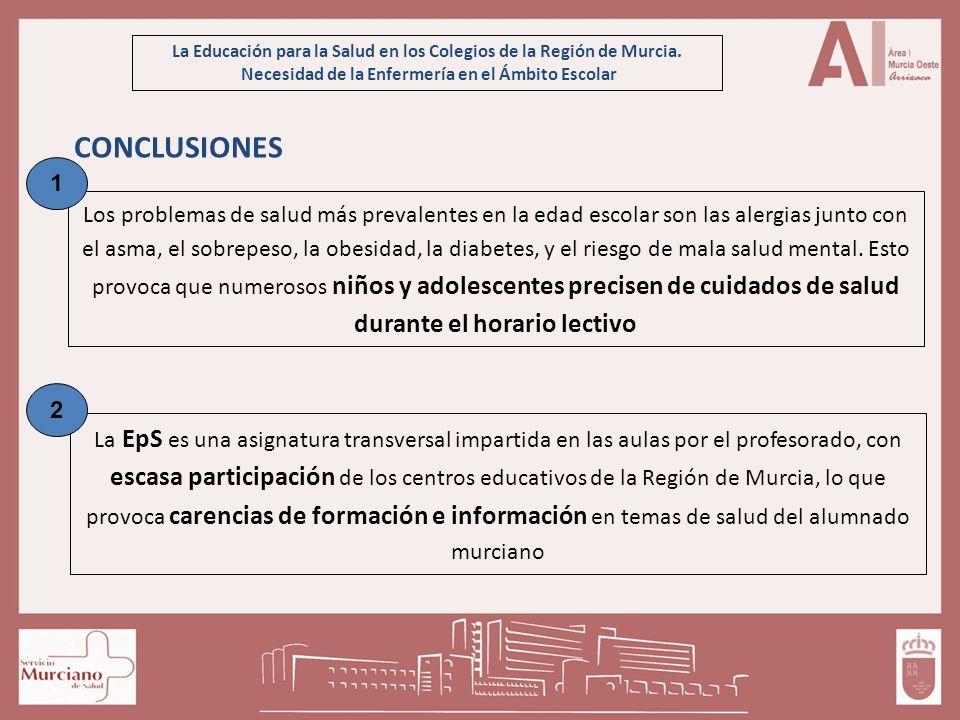 La Educación para la Salud en los Colegios de la Región de Murcia. Necesidad de la Enfermería en el Ámbito Escolar CONCLUSIONES Los problemas de salud