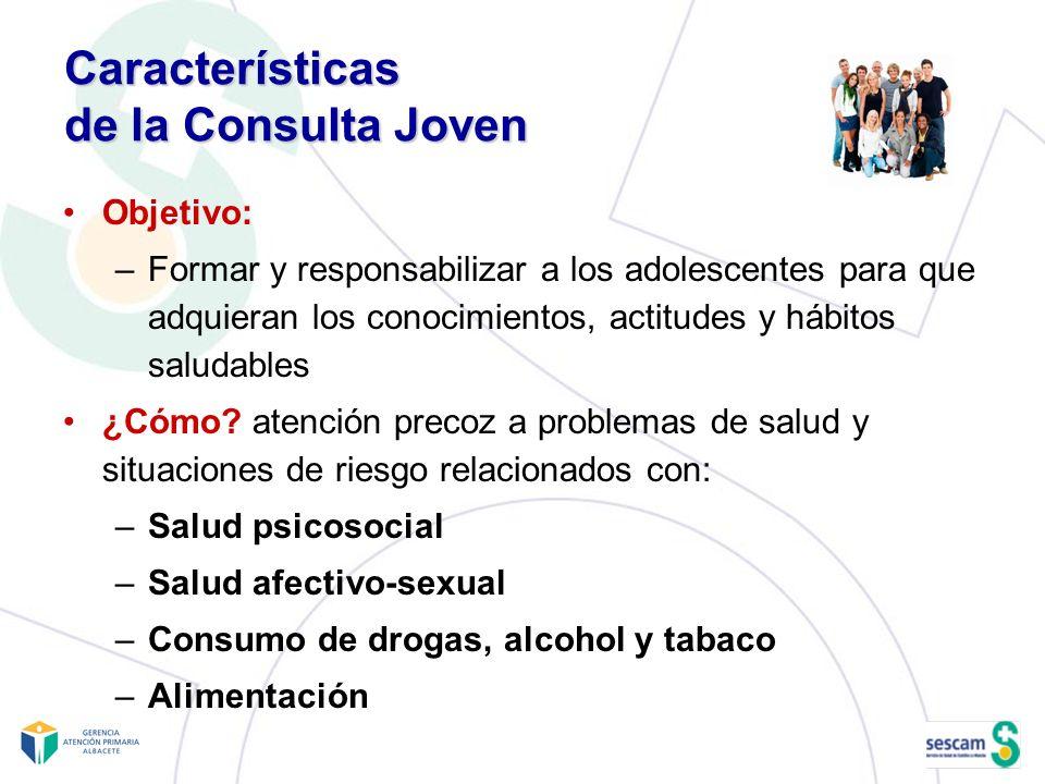 Características de la Consulta Joven Objetivo: –Formar y responsabilizar a los adolescentes para que adquieran los conocimientos, actitudes y hábitos