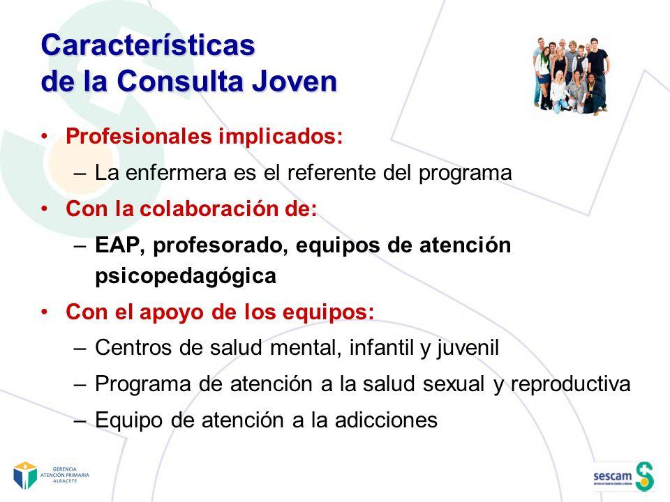 Características de la Consulta Joven Profesionales implicados: –La enfermera es el referente del programa Con la colaboración de: –EAP, profesorado, e