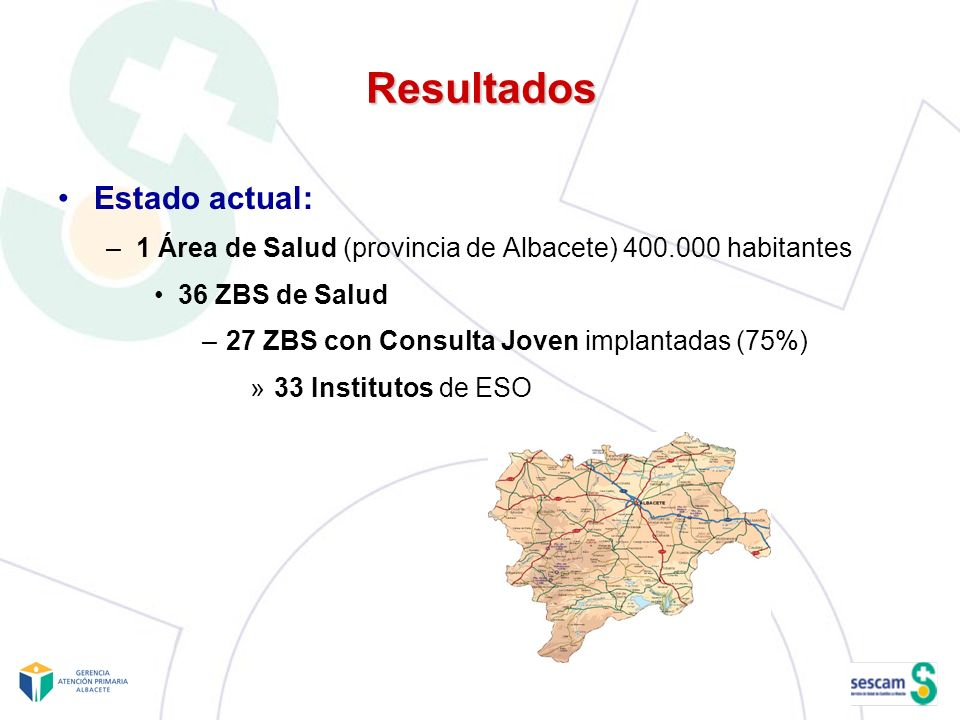 Resultados Estado actual: –1 Área de Salud (provincia de Albacete) 400.000 habitantes 36 ZBS de Salud –27 ZBS con Consulta Joven implantadas (75%) »33