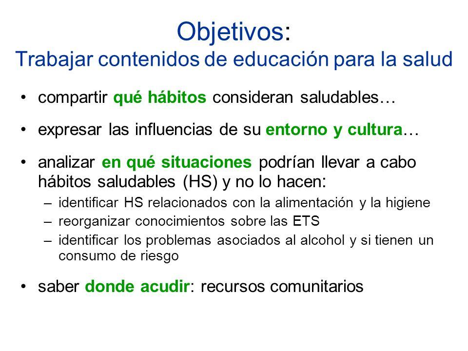 Objetivos: Trabajar contenidos de educación para la salud compartir qué hábitos consideran saludables… expresar las influencias de su entorno y cultur